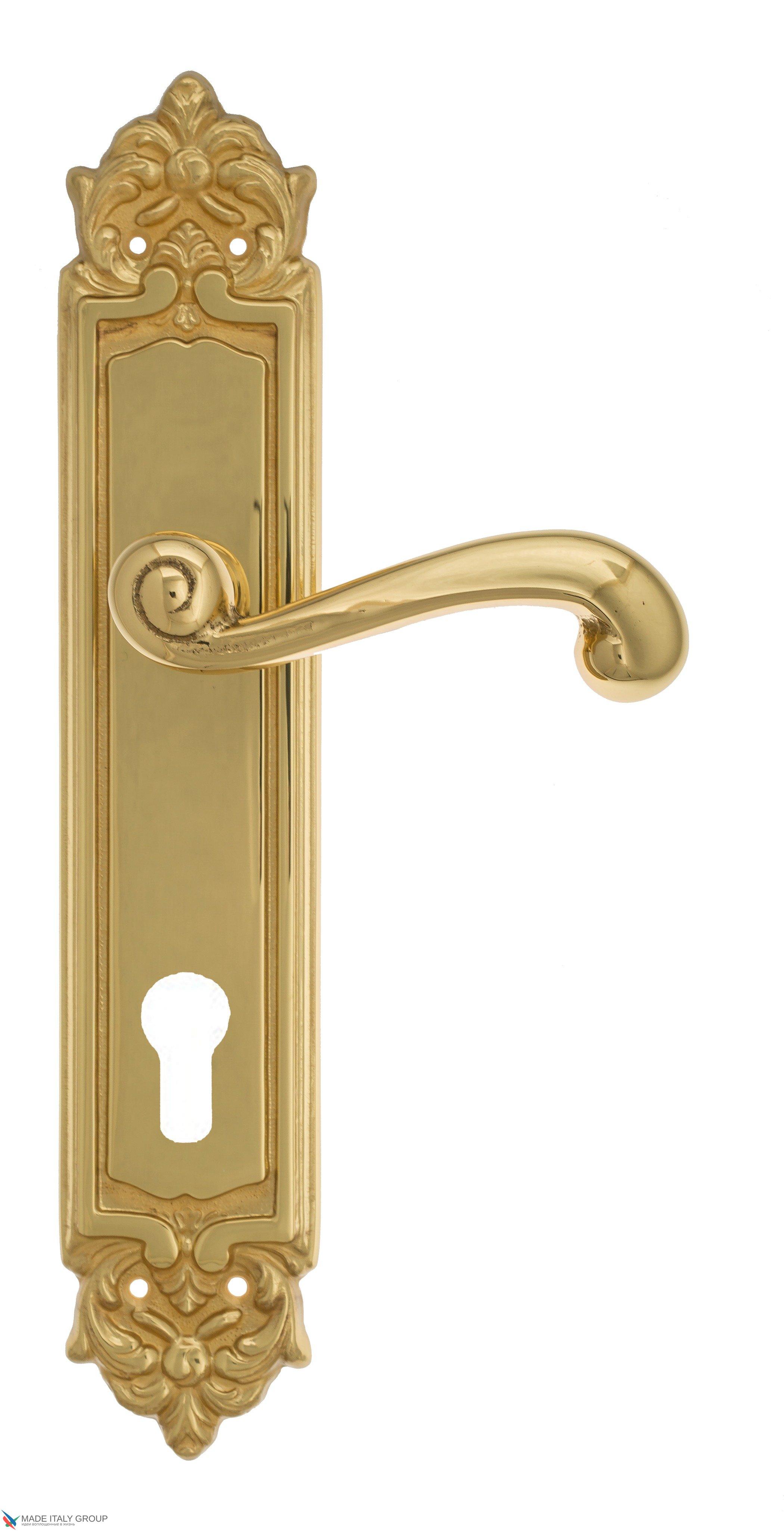 """Дверная ручка Venezia """"CARNEVALE"""" CYL на планке PL96 полированная латунь"""