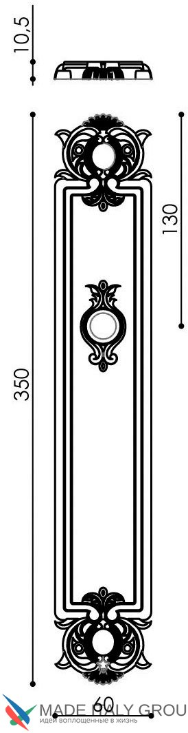 "Дверная ручка Venezia ""CARNEVALE"" CYL на планке PL97 матовая бронза"