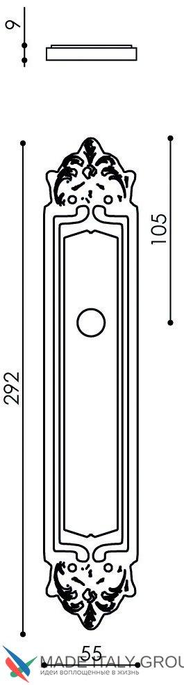 """Дверная ручка Venezia """"CARNEVALE"""" на планке PL96 полированная латунь"""