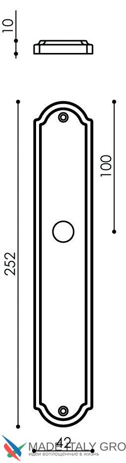 """Дверная ручка Venezia """"CASTELLO"""" CYL на планке PL02 полированная латунь"""