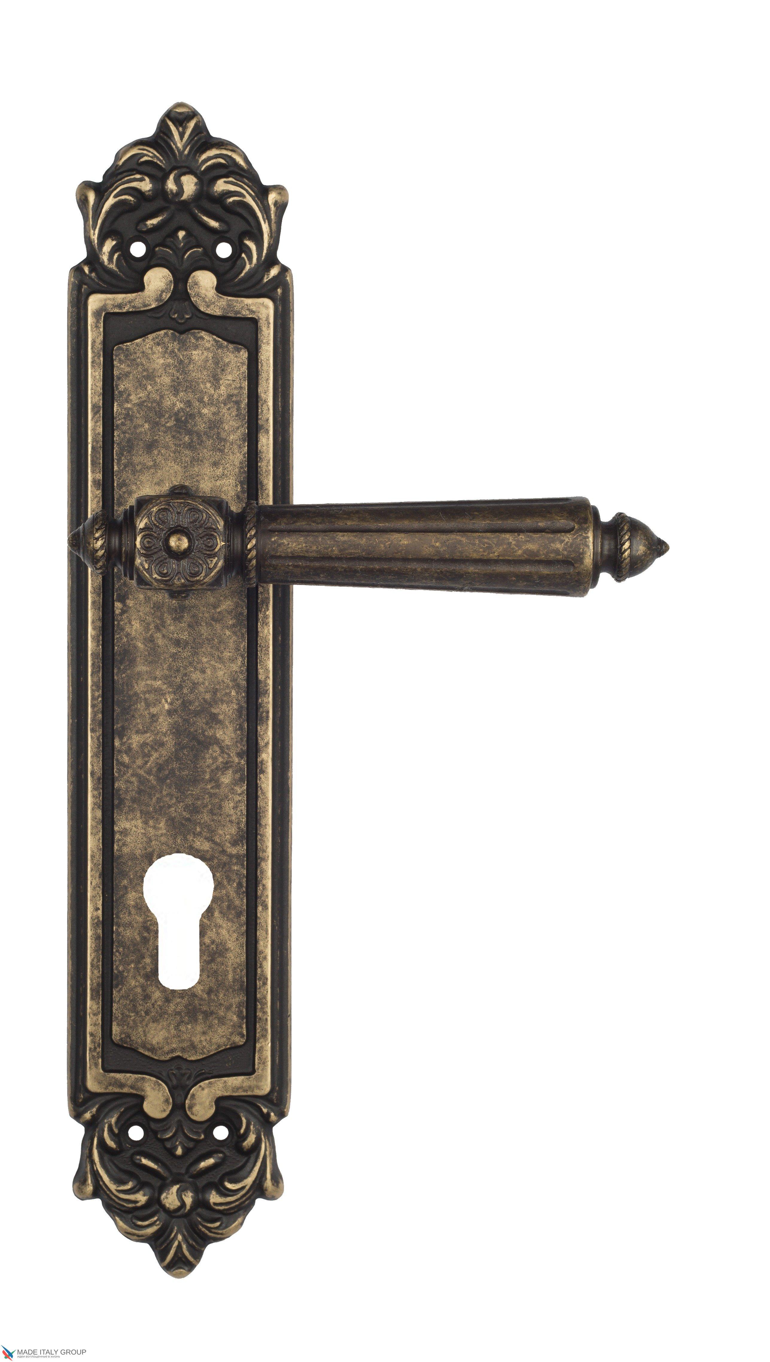 "Дверная ручка Venezia ""CASTELLO"" CYL на планке PL96 античная бронза"