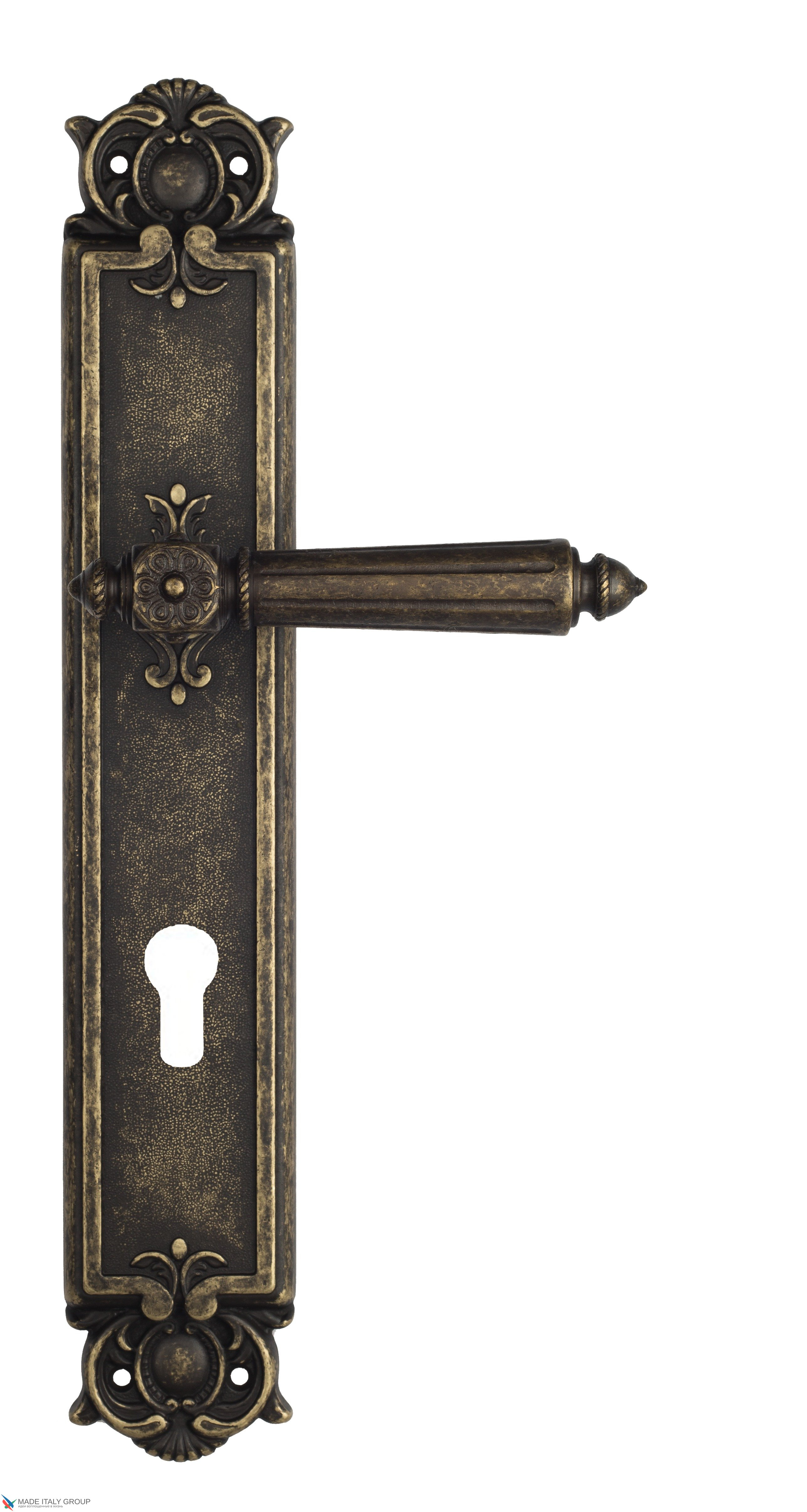 "Дверная ручка Venezia ""CASTELLO"" CYL на планке PL97 античная бронза"