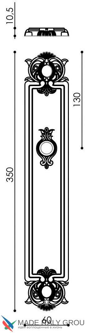 """Дверная ручка Venezia """"CASTELLO"""" CYL на планке PL97 античное серебро"""