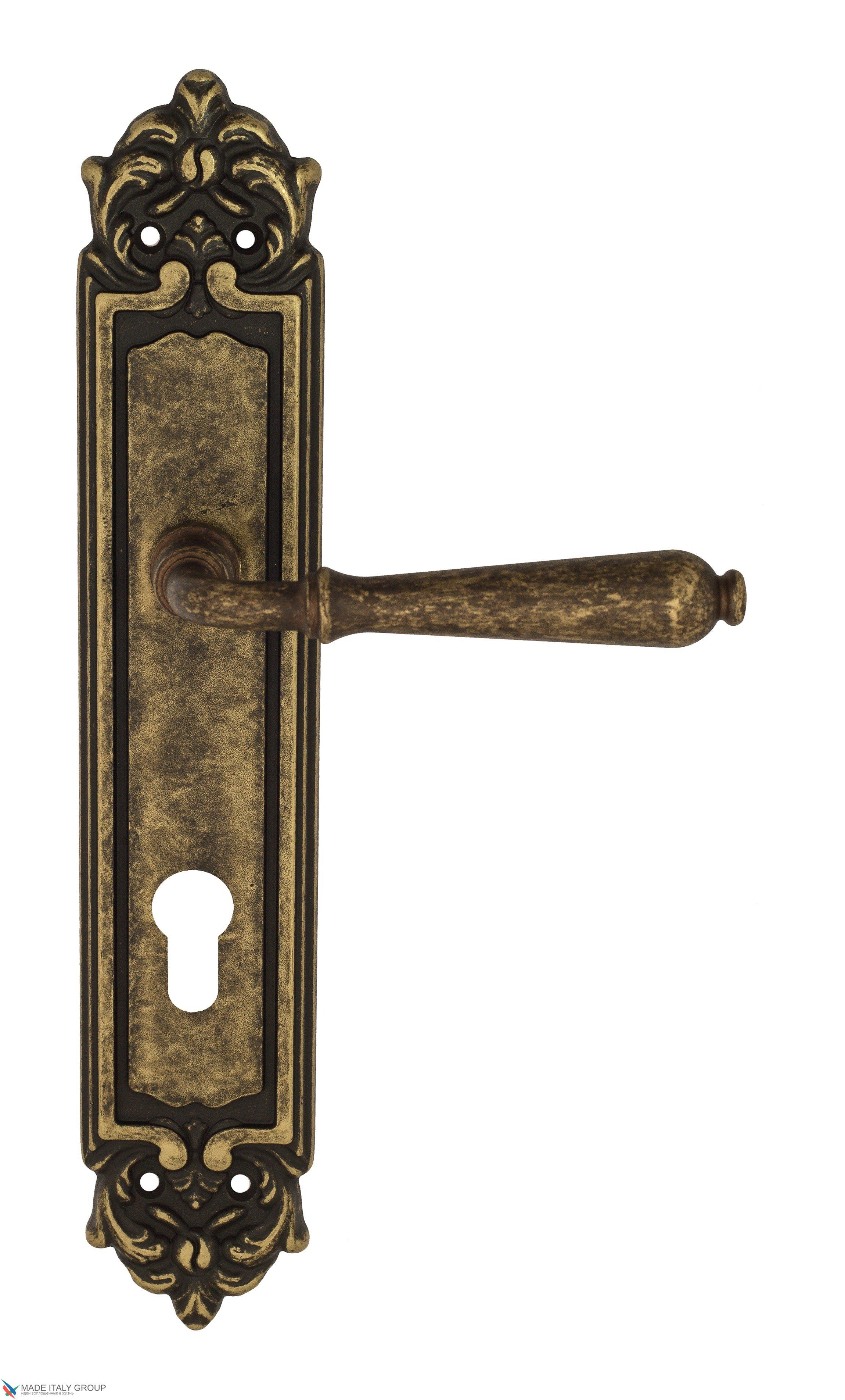 """Дверная ручка Venezia """"CLASSIC"""" CYL на планке PL96 античная бронза"""
