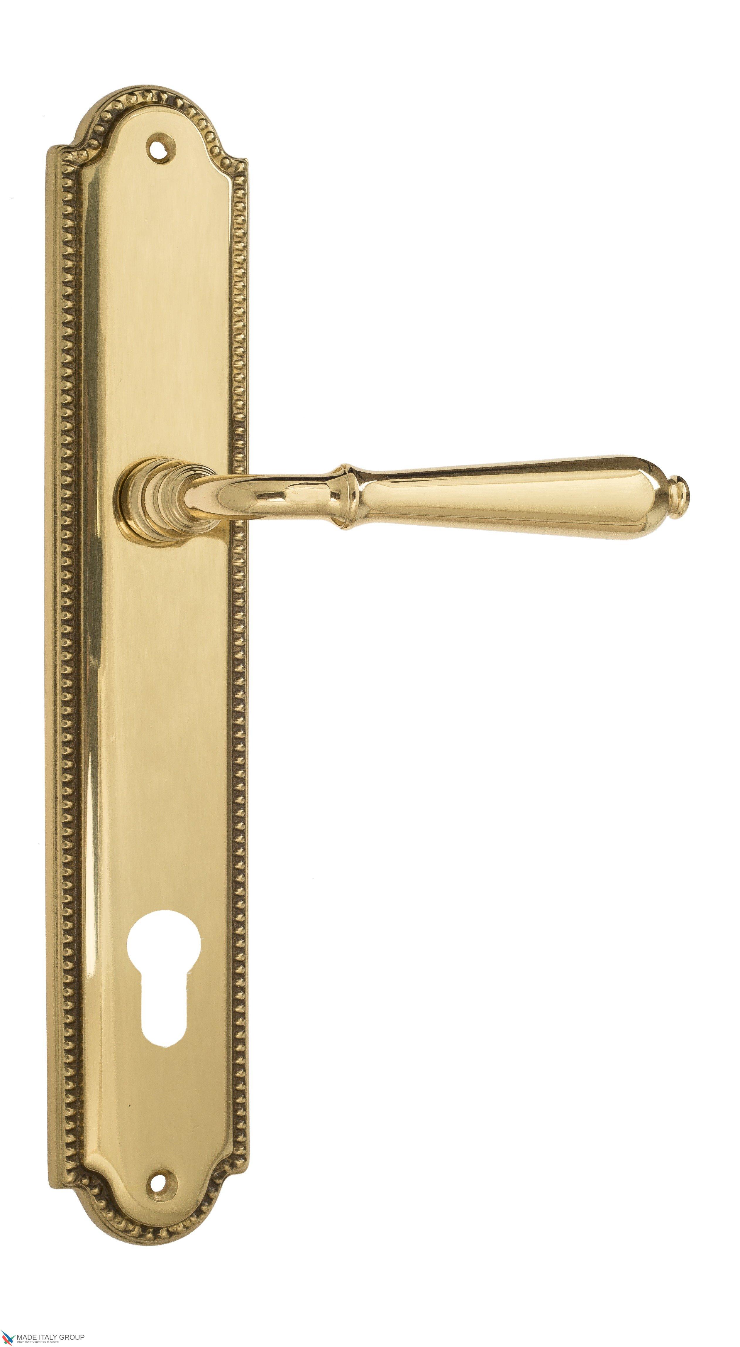 """Дверная ручка Venezia """"CLASSIC"""" CYL на планке PL98 полированная латунь"""