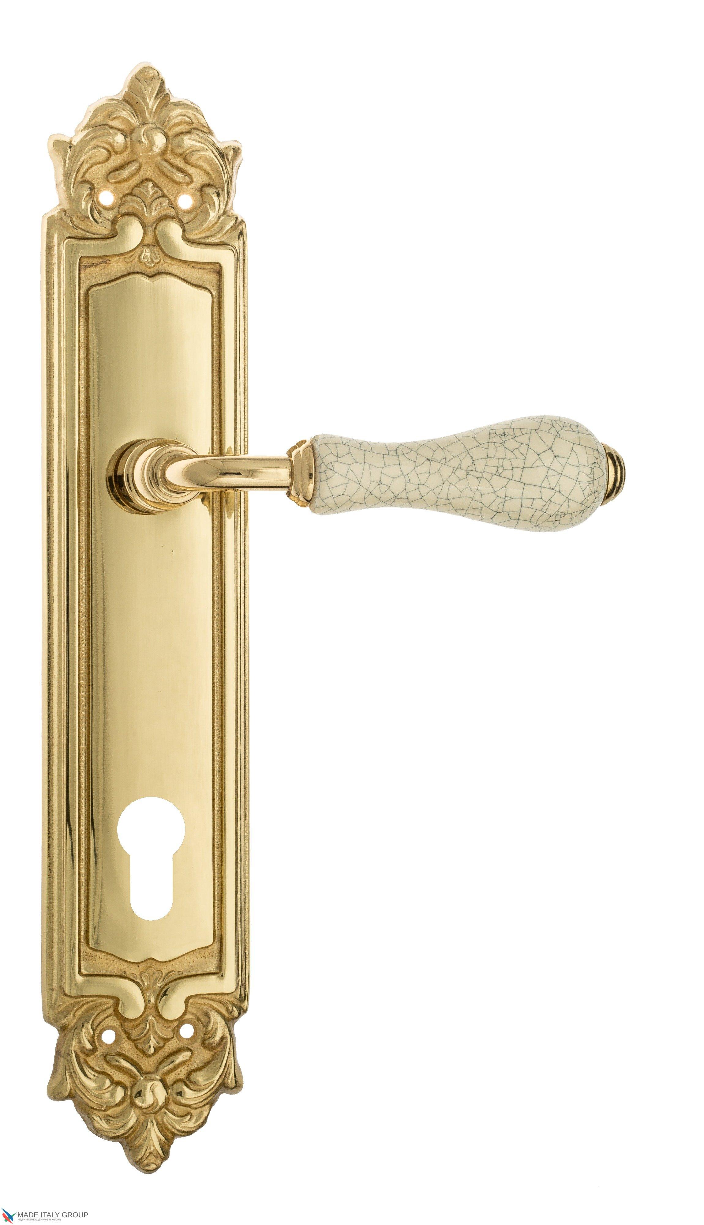 """Дверная ручка Venezia """"COLOSSEO"""" белая керамика паутинка CYL на планке PL96 полированная латунь"""