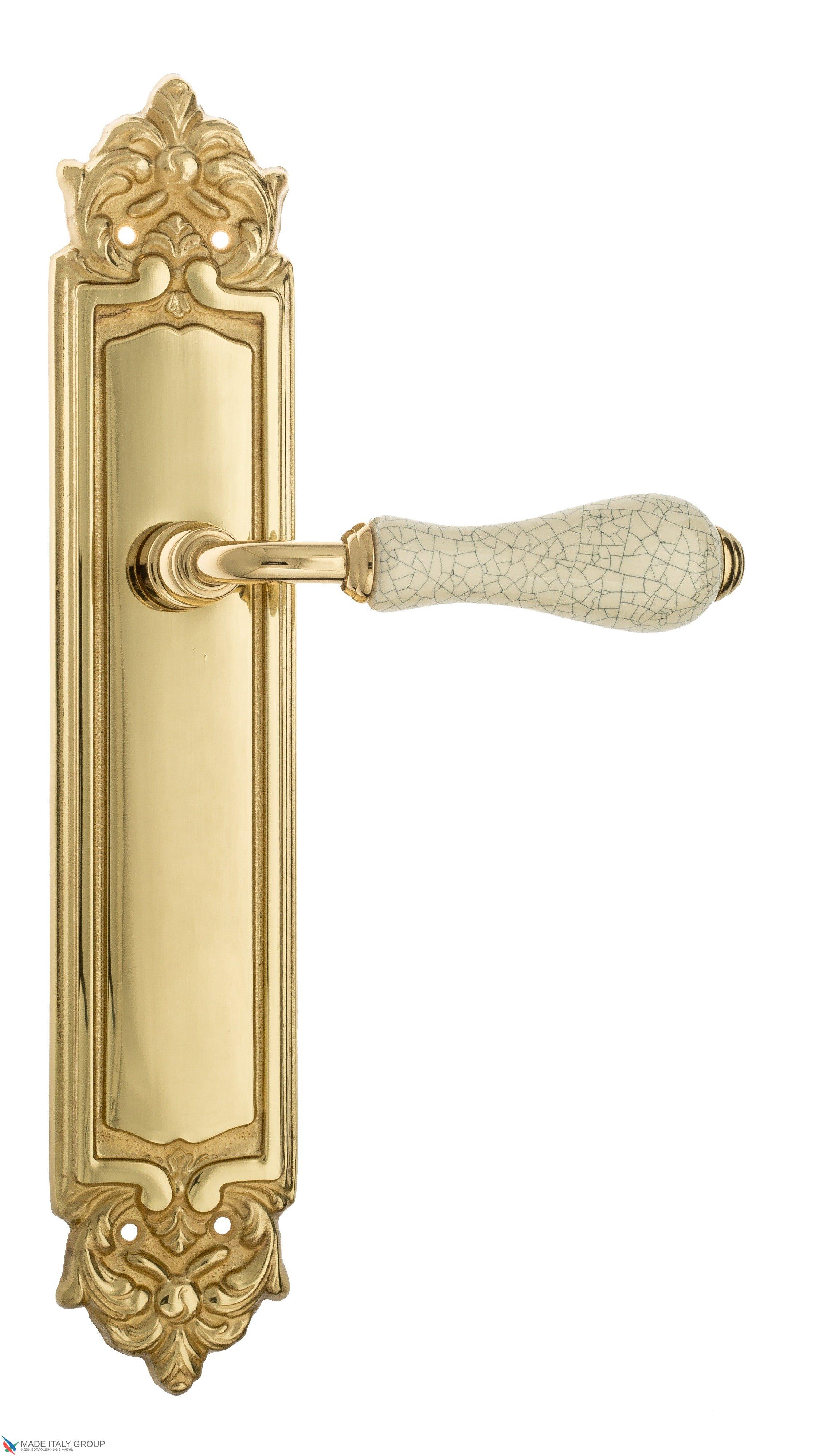 """Дверная ручка Venezia """"COLOSSEO"""" белая керамика паутинка на планке PL96 полированная латунь"""