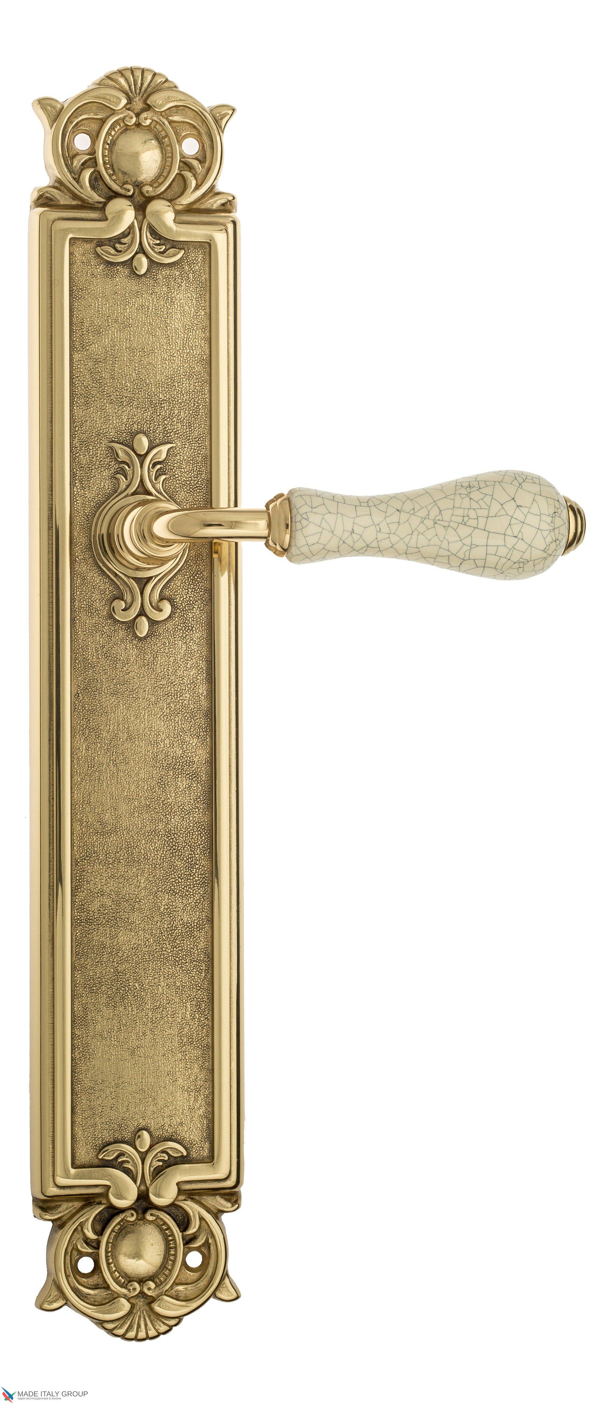 """Дверная ручка Venezia """"COLOSSEO"""" белая керамика паутинка на планке PL97 полированная латунь"""