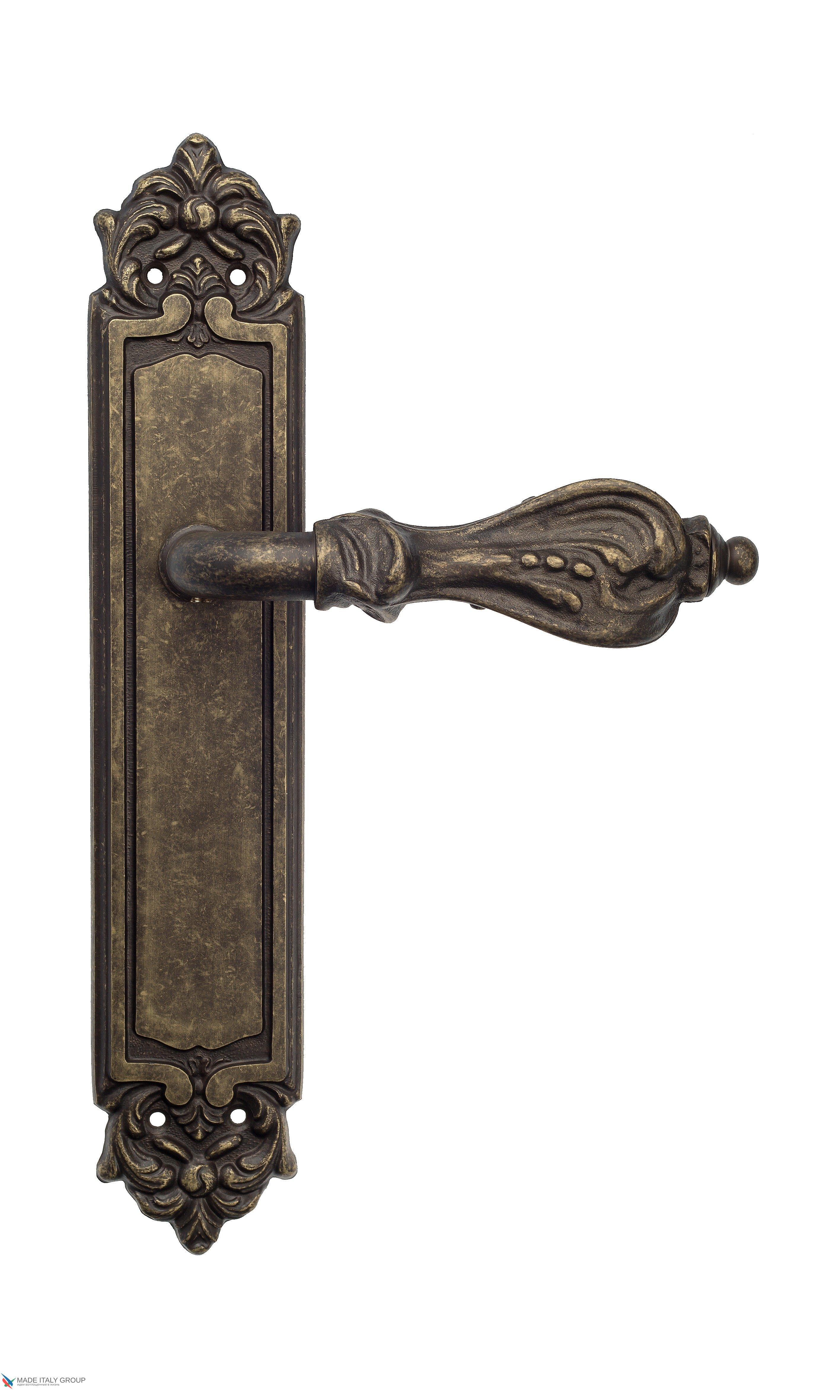 "Дверная ручка Venezia ""FLORENCE"" на планке PL96 античная бронза"